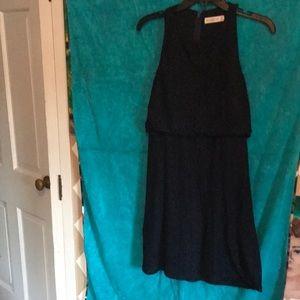 Navy mini dress zip up back